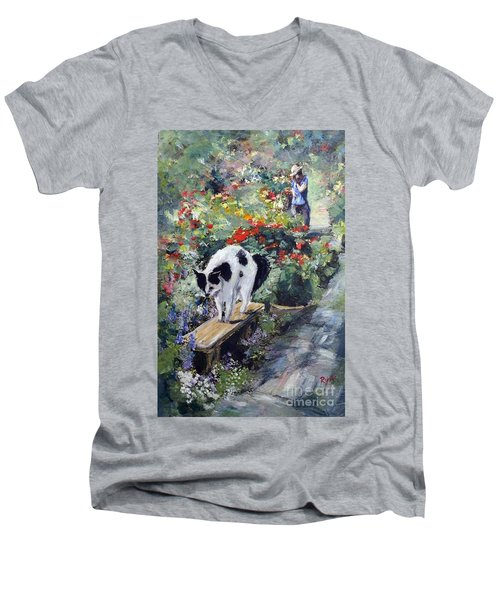 Men's V-Neck T-Shirt featuring the painting Bicolour Cat In Rose Garden by Ryn Shell