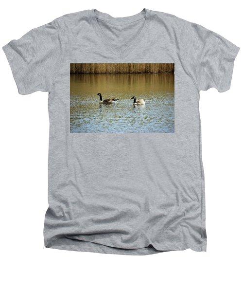 Bidston.  Bidston Moss Wildlife Reserve. Two Geese. Men's V-Neck T-Shirt