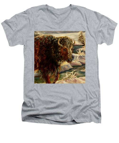 Bison In The Depths Of Winter In Yellowstone National Park Men's V-Neck T-Shirt