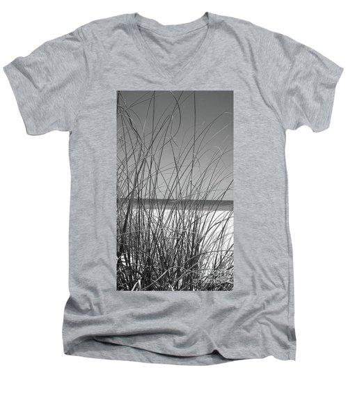 Black And White Beach View Men's V-Neck T-Shirt