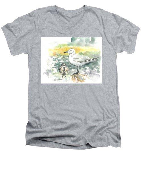 Black-billed Gull Family Men's V-Neck T-Shirt