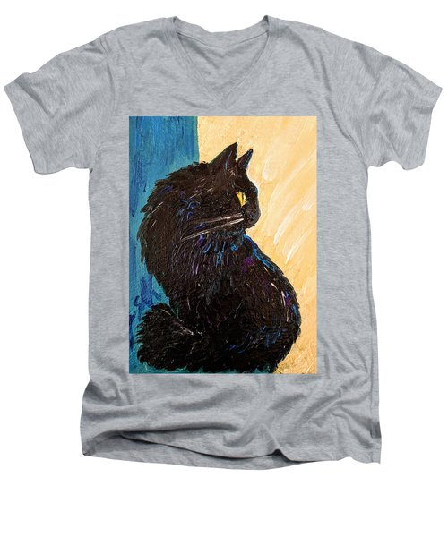 Black Cat In Sunlight Men's V-Neck T-Shirt