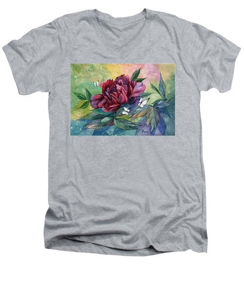 Black Peony Flower And Butterflies Men's V-Neck T-Shirt