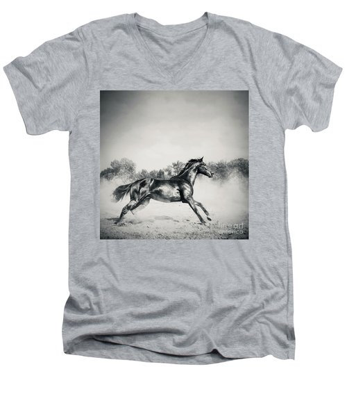 Men's V-Neck T-Shirt featuring the photograph Black Stallion Horse by Dimitar Hristov
