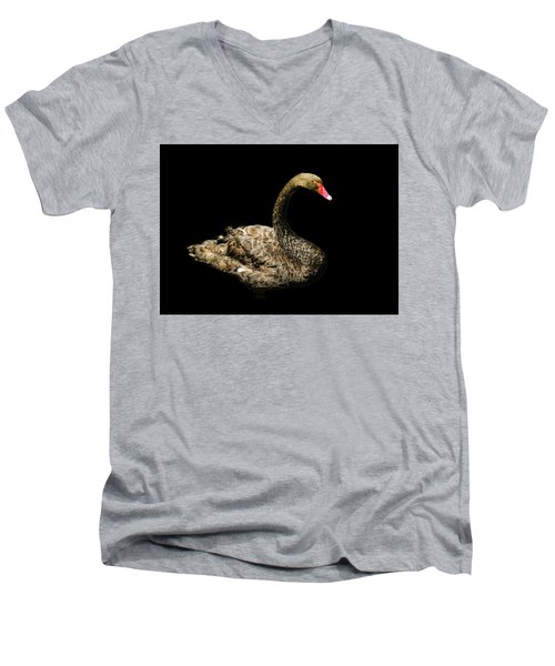 Black Swan On Black  Men's V-Neck T-Shirt