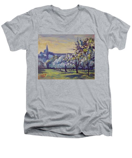 Blossom Trees Near Vijlen Men's V-Neck T-Shirt