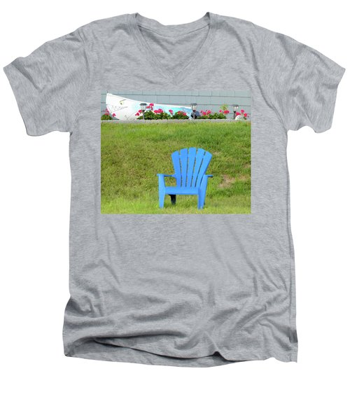 Men's V-Neck T-Shirt featuring the photograph Blue Chair by Linda Henne