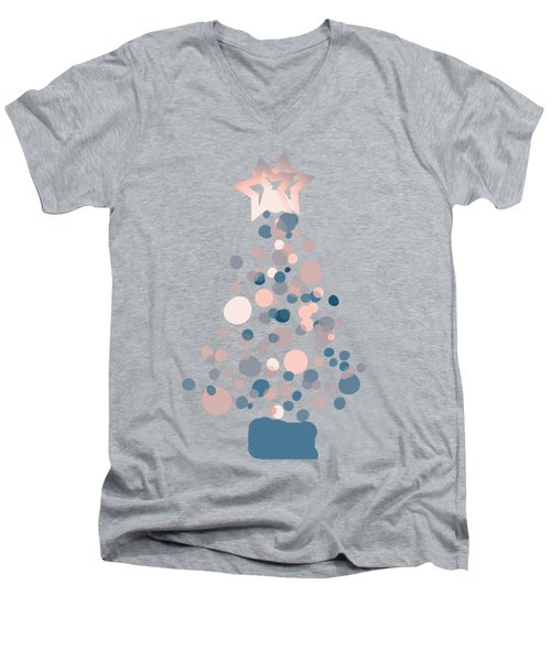 Blue Confetti Christmas Tree  Men's V-Neck T-Shirt