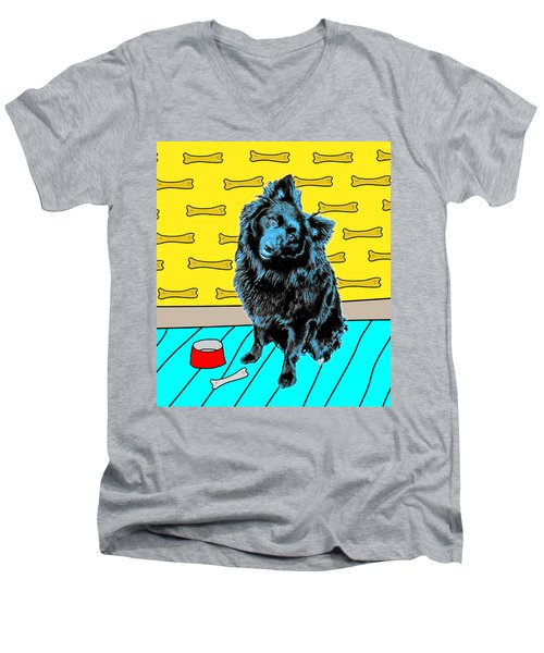 Blue Dog Men's V-Neck T-Shirt