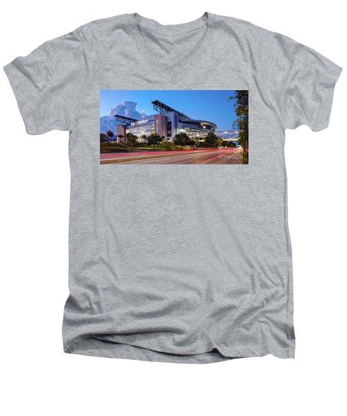 Blue Hour Photograph Of Nrg Stadium - Home Of The Houston Texans - Houston Texas Men's V-Neck T-Shirt