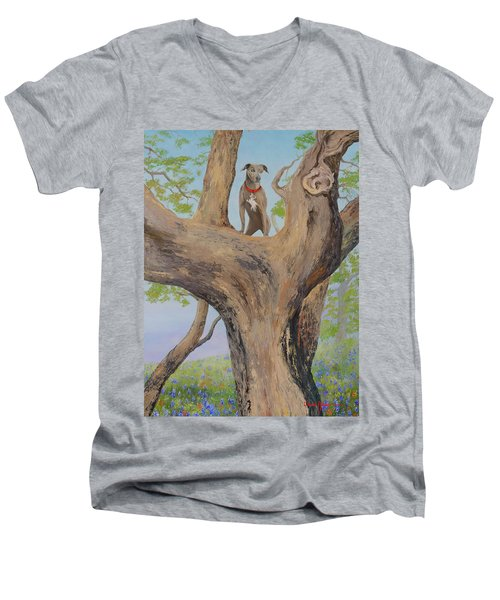 Blue Lacey In A Tree Men's V-Neck T-Shirt