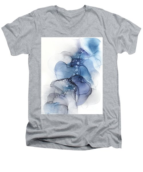 Blue Petal Dots Whispy Abstract Painting Men's V-Neck T-Shirt