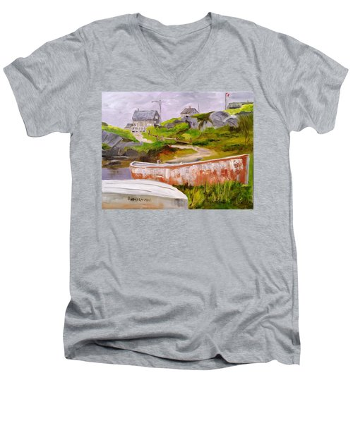 Boats At Peggy's Cove Men's V-Neck T-Shirt
