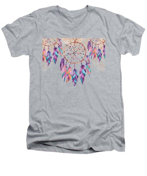 Boho Dreamcatcher - Boho Chic Ethnic Nursery Art Poster Print Men's V-Neck T-Shirt