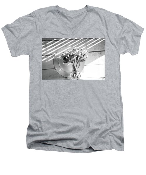 Bouquet And Plate-bw Men's V-Neck T-Shirt