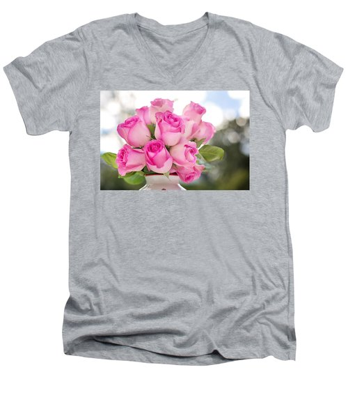Bouquet Of Pink Roses Men's V-Neck T-Shirt