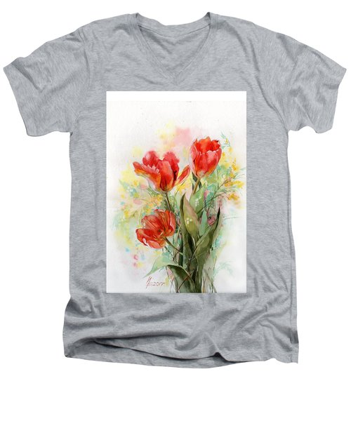 Bouquet Of Red Tulips Men's V-Neck T-Shirt