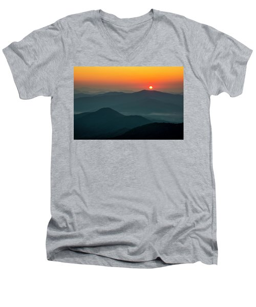 Men's V-Neck T-Shirt featuring the photograph Brasstown Bald Sunrise by Andy Crawford