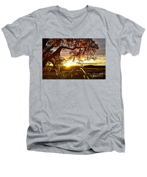 Men's V-Neck T-Shirt featuring the photograph Breaking Sunset by Robert Knight