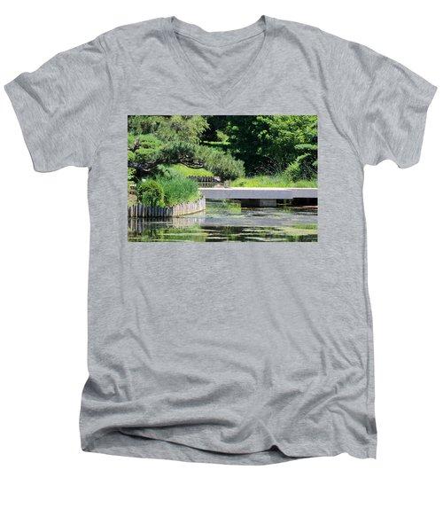 Bridge Over Pond In Japanese Garden Men's V-Neck T-Shirt