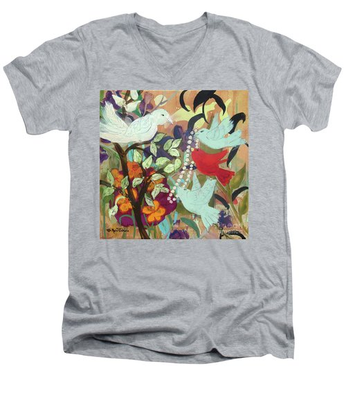 Men's V-Neck T-Shirt featuring the painting Bringin' Momma Beads by Robin Maria Pedrero