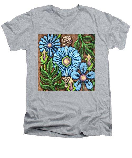 Brown And Blue Floral 1 Men's V-Neck T-Shirt