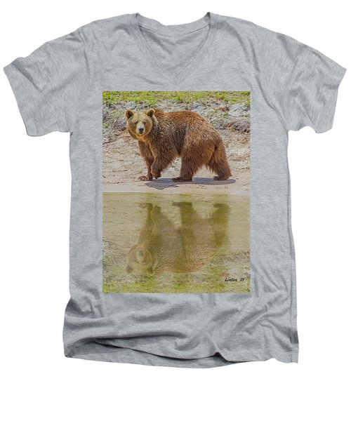 Brown Bear Reflection Men's V-Neck T-Shirt