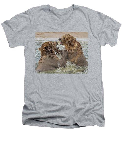 Brown Bears Fighting Men's V-Neck T-Shirt