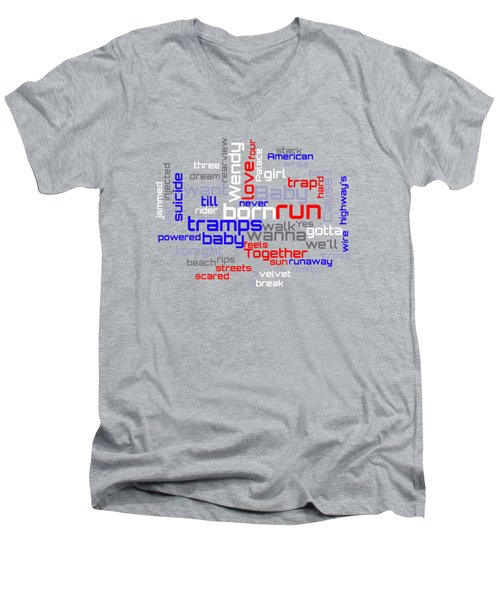 Bruce Springsteen - Born To Run Lyrical Cloud Men's V-Neck T-Shirt