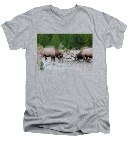 Bull Elk Battle Rocky Mountain National Park Men's V-Neck T-Shirt