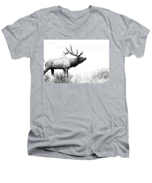 Bull Elk In Rut Men's V-Neck T-Shirt