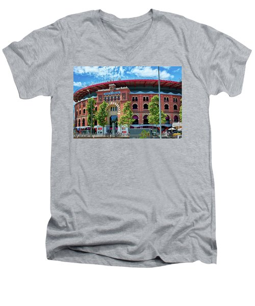 Bullring In Barcelona Men's V-Neck T-Shirt