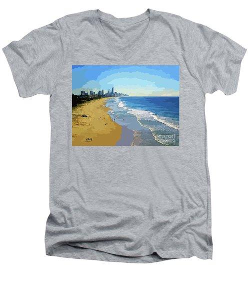 Burleigh Beach Gold Coast Australia 070708 Cartoon Men's V-Neck T-Shirt