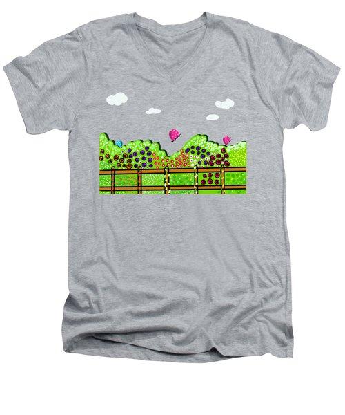 Butterflies And Flowers Men's V-Neck T-Shirt