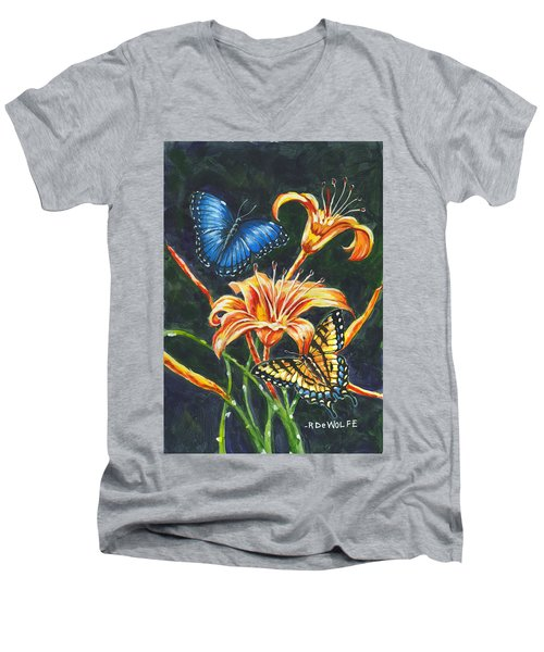 Butterflies And Flowers Sketch Men's V-Neck T-Shirt