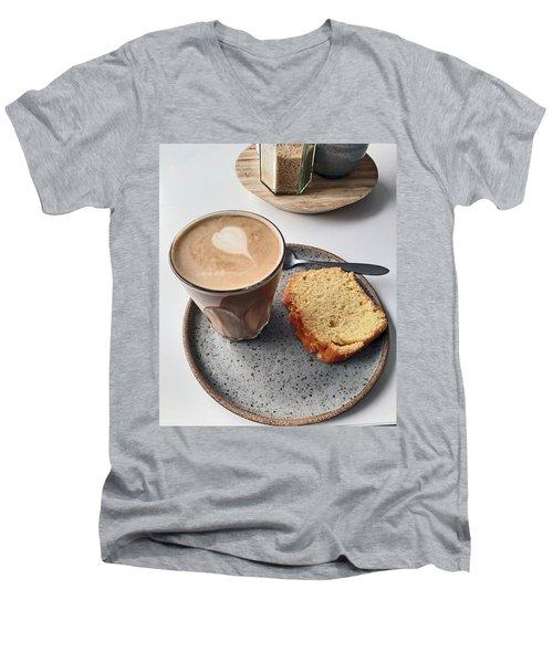 Cafe. Latte And Cake.  Men's V-Neck T-Shirt