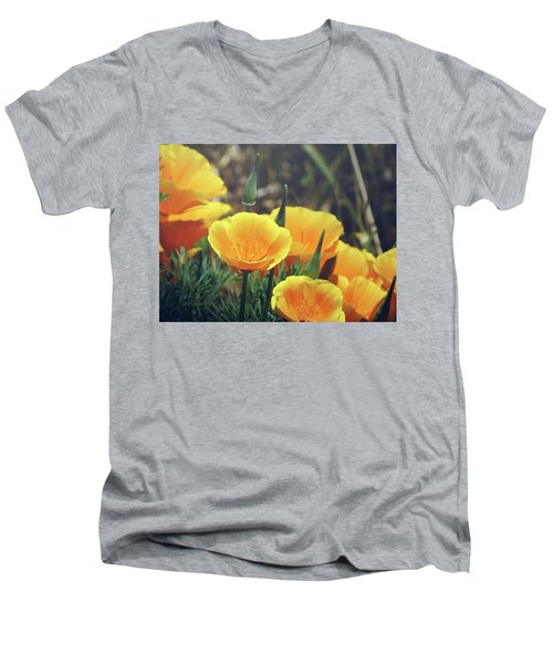 Men's V-Neck T-Shirt featuring the photograph Californian Poppies In The Patagonia by Eduardo Jose Accorinti