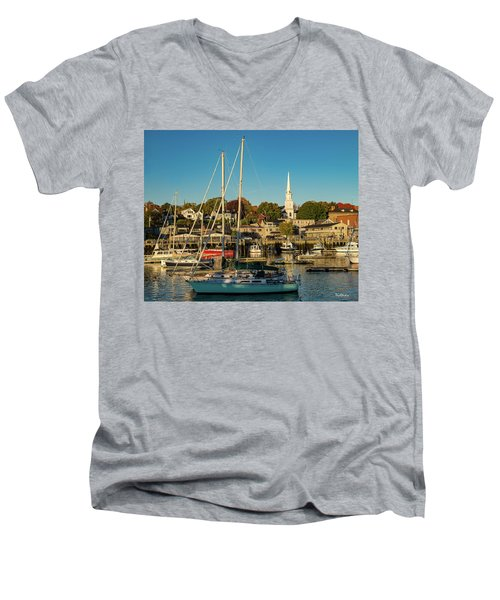 Men's V-Neck T-Shirt featuring the photograph Camden Maine Harbor by Tim Kathka