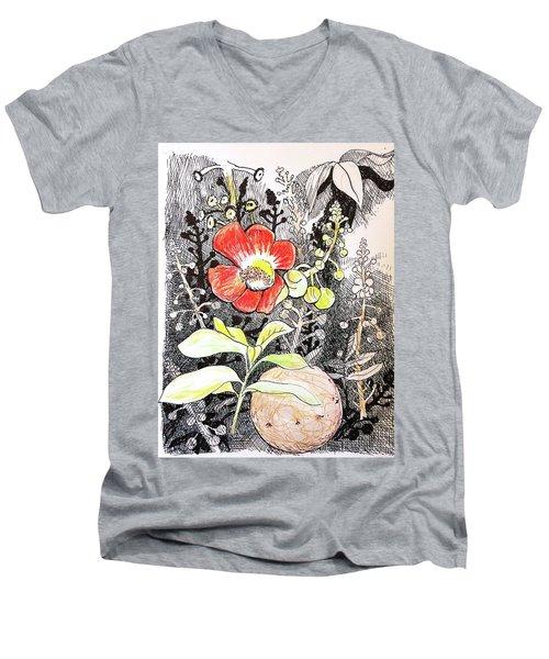Cannonball Flower Botanical Men's V-Neck T-Shirt