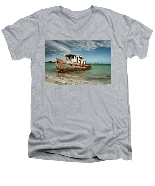 Caribbean Shipwreck 21002 Men's V-Neck T-Shirt