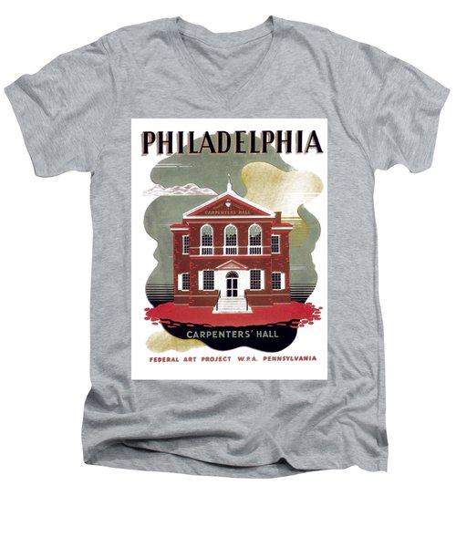 Carpenter Hall - Philadelphia - Remastered Men's V-Neck T-Shirt
