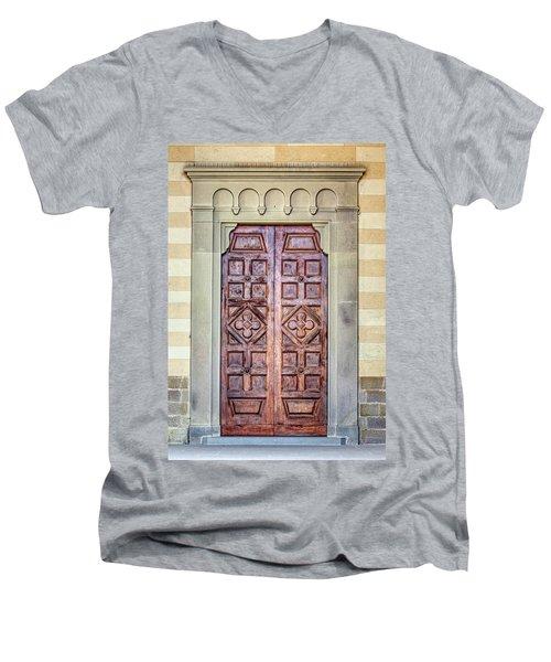 Carved Door Of Cortona Men's V-Neck T-Shirt