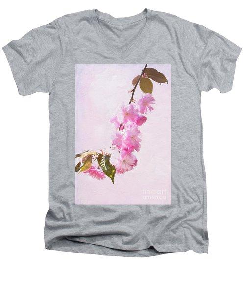 Cascading Kwanzan Cherry Blossoms Men's V-Neck T-Shirt