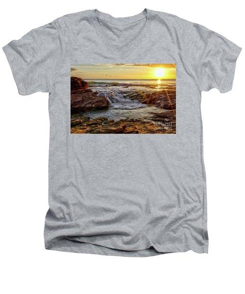 Cascading Sunset At Crystal Cove Men's V-Neck T-Shirt