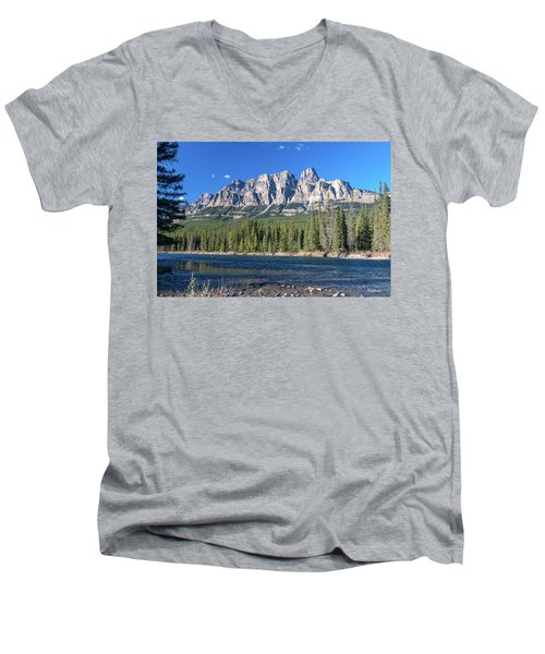 Men's V-Neck T-Shirt featuring the photograph Castle Cliffs From The Bow River by Tim Kathka