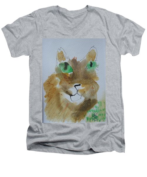 Cat Face Yellow Brown With Green Eyes Men's V-Neck T-Shirt