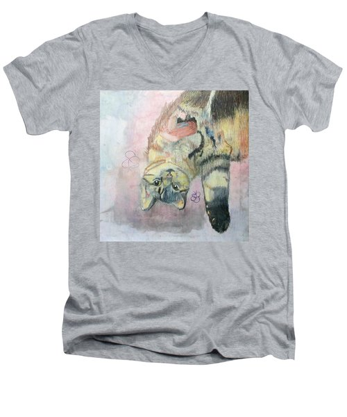 Playful Cat Named Simba Men's V-Neck T-Shirt