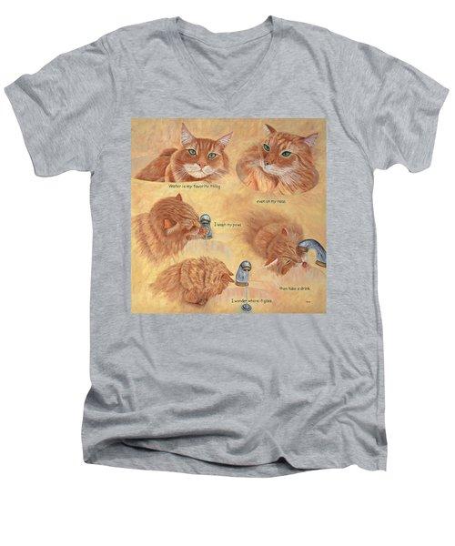 Cat Splash Men's V-Neck T-Shirt