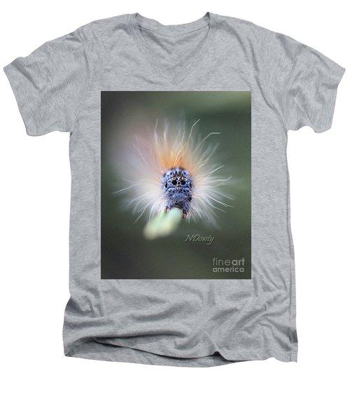 Caterpillar Face Men's V-Neck T-Shirt