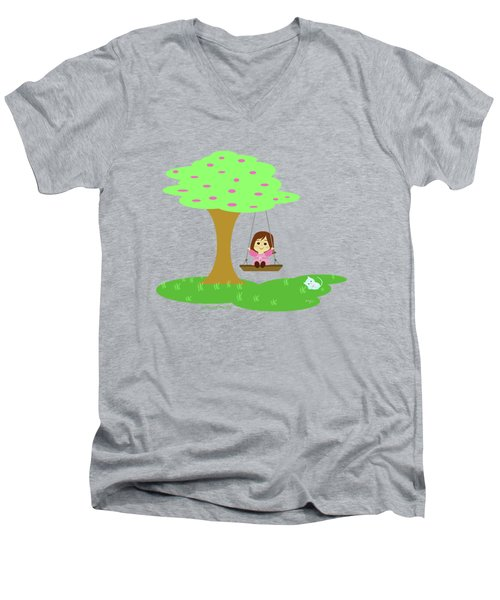 Cathy And The Cat Play In The Swing Men's V-Neck T-Shirt